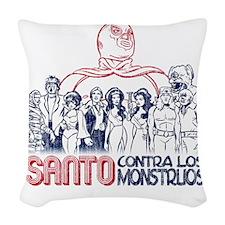 Santo vs the Monsters Woven Throw Pillow