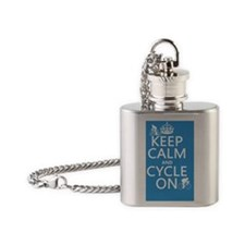 Keep Calm and Cycle On Flask Necklace