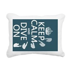 Keep Calm and Dive On Rectangular Canvas Pillow