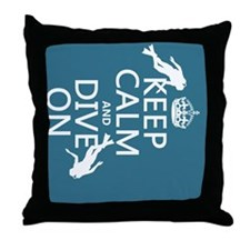 Keep Calm and Dive on (scuba) Throw Pillow