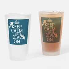 Keep Calm and Dive on (scuba) Drinking Glass