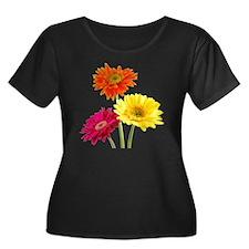 Daisy Ge Women's Plus Size Dark Scoop Neck T-Shirt