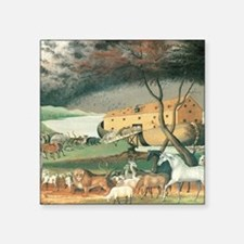 "Noah's Ark by Edward Hicks Square Sticker 3"" x 3"""