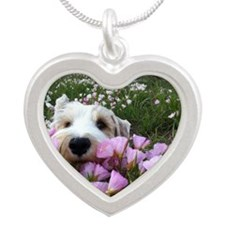 Flower Dobby Silver Heart Necklace