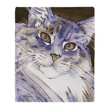 Sabine Maine Coon Cat by Lori Alexan Throw Blanket