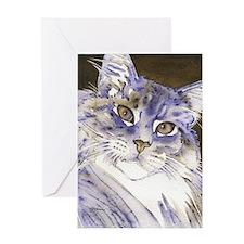 Sabine Maine Coon Cat by Lori Alexan Greeting Card