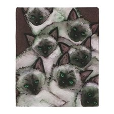 Siamese Kittens by Lori Alexander Throw Blanket