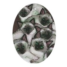 Siamese Kittens by Lori Alexander Oval Ornament