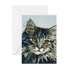 Elfin Maine Coon Cat by Lori Alexand Greeting Card