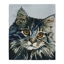 Elfin Maine Coon Cat by Lori Alexand Throw Blanket
