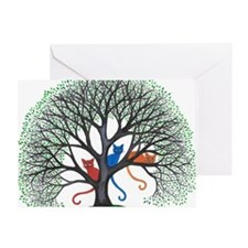 Iowa Stray Cats in Tree by Lori Alex Greeting Card
