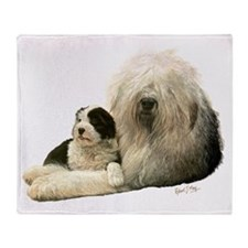Old Eng and Pup Throw Blanket