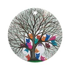Connecticut Stray Cats in Tree by L Round Ornament
