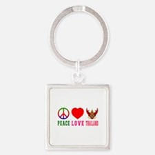 Peace Love Thailand Square Keychain