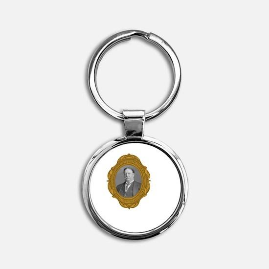 William Taft White Round Keychain