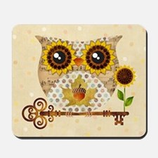Owls Autumn Song Mousepad