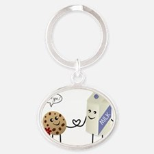 Cute Couple Showing Love Oval Keychain