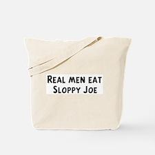 Men eat Sloppy Joe Tote Bag