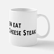 Men eat Philadelphia Cheese S Mug