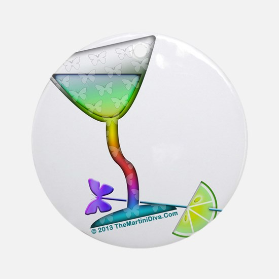 BUTTERFLY MARTINI Round Ornament