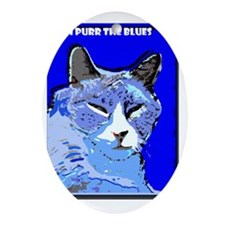 I Purr the Blues Oval Ornament