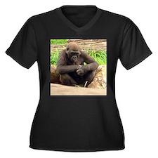 chimp Women's Plus Size V-Neck Dark T-Shirt