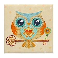 Owls Summer Love Letters Tile Coaster