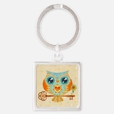 Owls Summer Love Letters Square Keychain