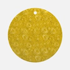 Yellow Swirling Paisley Pattern Round Ornament