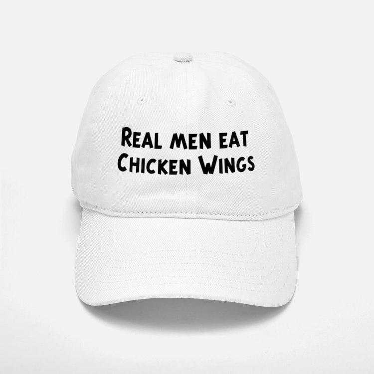 Men eat Chicken Wings Baseball Baseball Cap