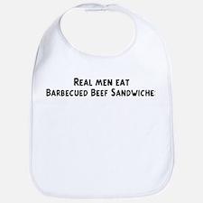 Men eat Barbecued Beef Sandwi Bib