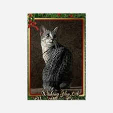 Egyptian Mau Cat Christmas Rectangle Magnet