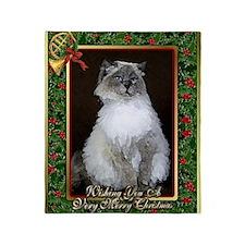 Ragdoll Cat Christmas Card Throw Blanket