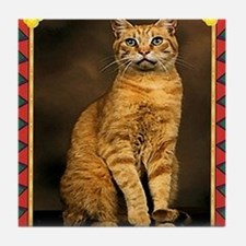 Red Tabby Cat Christmas Tile Coaster