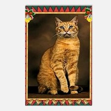 Red Tabby Cat Christmas Postcards (Package of 8)