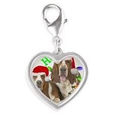 TWO BASSETS IN CHRISTMAS LIGHT Silver Heart Charm