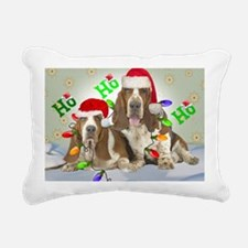 TWO BASSETS IN CHRISTMAS Rectangular Canvas Pillow