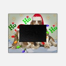 TWO BASSETS IN CHRISTMAS LIGHTS card Picture Frame