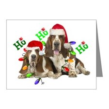 TWO BASSETS IN CHRISTMAS LIG Note Cards (Pk of 20)