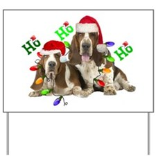 TWO BASSETS IN CHRISTMAS LIGHTS Ho Ho Ho Yard Sign