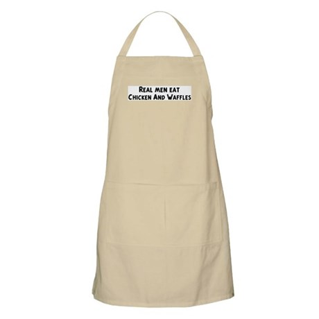 Men eat Chicken And Waffles BBQ Apron