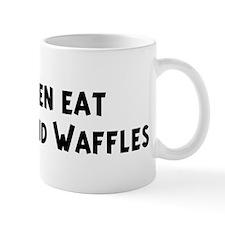 Men eat Chicken And Waffles Small Mug