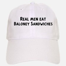 Men eat Baloney Sandwiches Baseball Baseball Cap