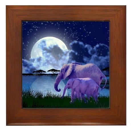 Contemplative Elephants Framed Tile