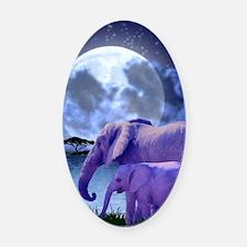 Contemplative Elephants Oval Car Magnet