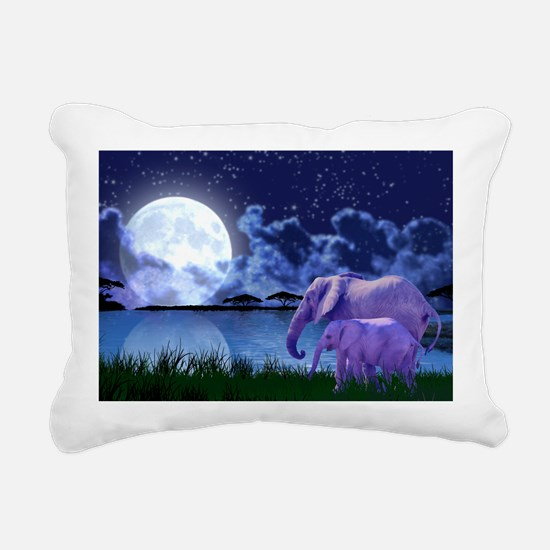 Contemplative Elephants Rectangular Canvas Pillow