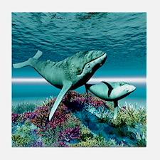 Humpback Whales Tile Coaster