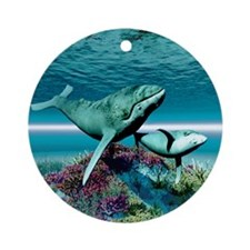 Humpback Whales Round Ornament