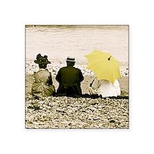 """Yellow Umbrella Square Sticker 3"""" x 3"""""""