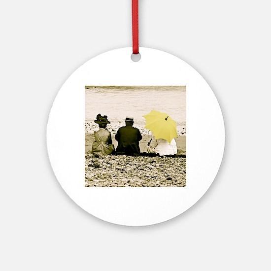 Yellow Umbrella Round Ornament